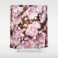 rose gold Shower Curtains featuring Rose And Gold Floral by J&C Creations