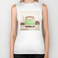 volkswagon Biker Tanks featuring Vintage Volkswagen Bus (Green Edition) by Laura Ruth
