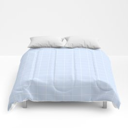 Powder Blue and White Grid Pattern Comforters