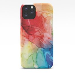 Rainbow Good Vibes Abstract Painting iPhone Case