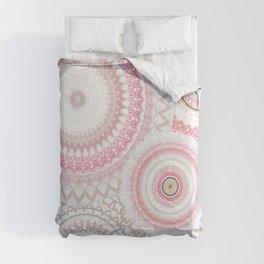 Pink Silver Gold Mandalas Comforters