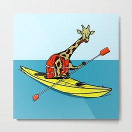 Giraffe Sea Kayaking Metal Print