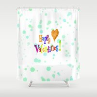 valentines Shower Curtains featuring Happy Valentines, aqua by MehrFarbeimLeben