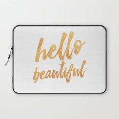 Hello Beautiful - Gold Typography Laptop Sleeve