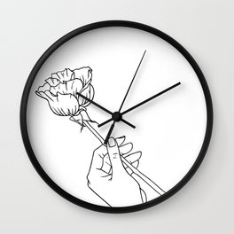 Rose in Hand Wall Clock