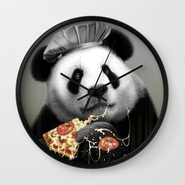 PANDA LOVES PIZZA Wall Clock