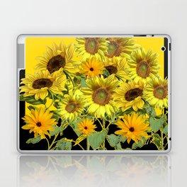 GOLDEN -BLACK SUNNY YELLOW SUNFLOWERS FIELD ART Laptop & iPad Skin