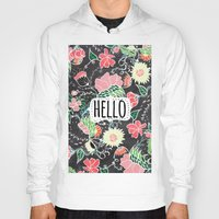 preppy Hoodies featuring Pastel preppy flowers Hello typography chalkboard by Girly Trend