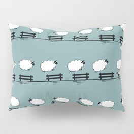 Counting Sheep II: Sheep Jumping Over Fences Pillow Sham