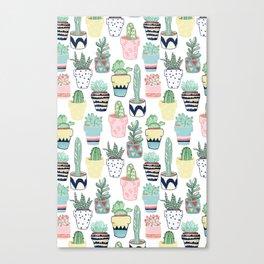 Cute Cacti in Pots Canvas Print