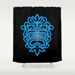 Stylish Blue and Black Mayan Mask Shower Curtain