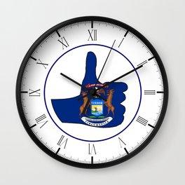 Thumbs Up Michigan Wall Clock