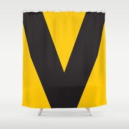 Sans Serif V. Black on Yellow Shower Curtain