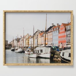 The Row | City Photography of Boats and Colorful Houses in Nyhavn Copenhagen Denmark Europe Serving Tray