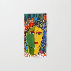 The Green Yellow Pop Girl Portrait Hand & Bath Towel
