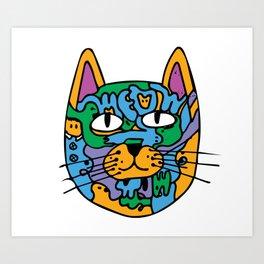 Mischief the Trippy Cat Art Print