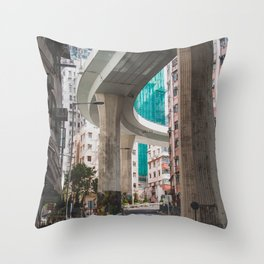 Hong Kong Street Bridge Throw Pillow
