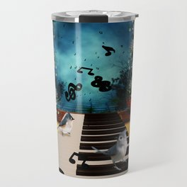Music, piano with birds and butterflies Travel Mug
