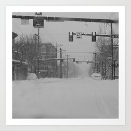 Snow Storm in Downtown - One Way Art Print