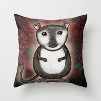 gemma correll Throw Pillows featuring Gemma the Gerbil by Studio 8107