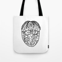 dwight schrute Tote Bags featuring DWIGHT by Grace Billingslea