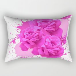 CERISE PINK ROSE PATTERN WATERCOLOR SPLATTER Rectangular Pillow