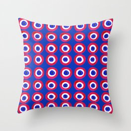Donut Evil Eye Amulet Talisman - red on blue doughnut Throw Pillow