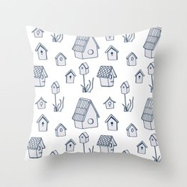 Bird House Drawings, Pattern Throw Pillow