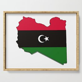 Libya Map with Libyan Flag Serving Tray