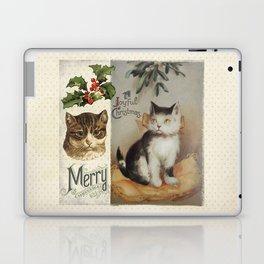 Merry Catmas vintage cat xmas illustration Laptop & iPad Skin
