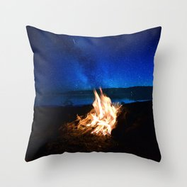 Light the fire, watch the stars Throw Pillow