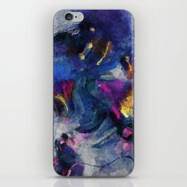 Contemporary Abstract Art in Blue and Yellow iPhone Skin