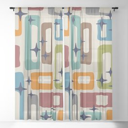 Retro Mid Century Modern Abstract Pattern 224 Sheer Curtain