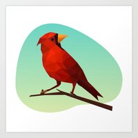 low poly Art Prints featuring Low-poly Red Bird by fortyfive