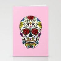 sugar skull Stationery Cards featuring Sugar Skull by Jade Boylan