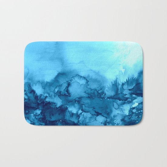 INTO ETERNITY, TURQUOISE Colorful Aqua Blue Watercolor Painting Abstract Art Floral Landscape Nature Bath Mat