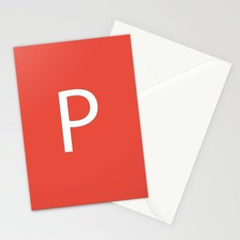 Letter P Initial Monogram - White on Alizarin Stationery Cards
