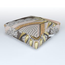 Sunny Yin Yang Gold Lace Outdoor Floor Cushion