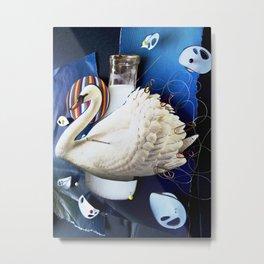 Milky swan   Collage Metal Print