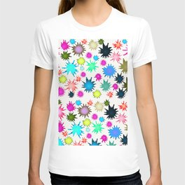 Colorful pink teal watercolor splatters pattern T-shirt