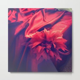 Red Drape and Petale Metal Print
