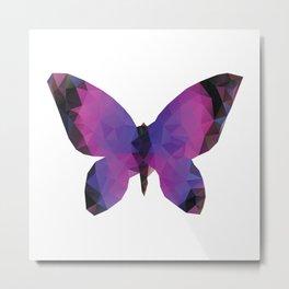 Purple Polygonal Butterfly Metal Print
