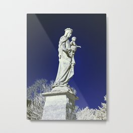 Infrared madonna and child statue Metal Print