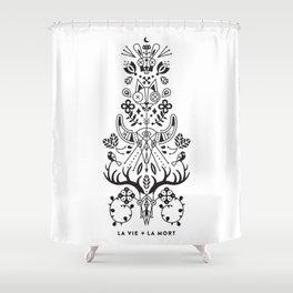 La Vie + La Mort: Black Ink Shower Curtain