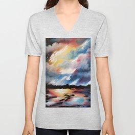 Moody Sunset, Dark Sunset, Abstract Sunset, Seascape, Sunscape, Skyscape Unisex V-Neck