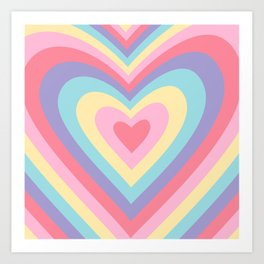 Colorful rainbow hearts Art Print