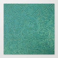leather Canvas Prints featuring teal leather by Sylvia Cook Photography