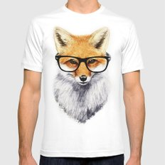 Mr. Fox MEDIUM White Mens Fitted Tee