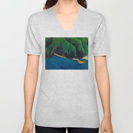 Kawase Hasui Vintage Japanese Woodblock Print Beautiful Green Cliffs Raging Blue Waters With Fisherm Unisex V-Neck
