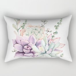 Succulents Mint and Purple by Nature Magick Rectangular Pillow